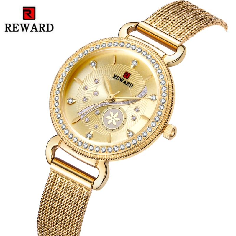 REWARD Fashion Gold Women Wrist Watch Women Luxury Diamond Watches Stainless Steel Women's Watches Female Clock Reloj Mujer