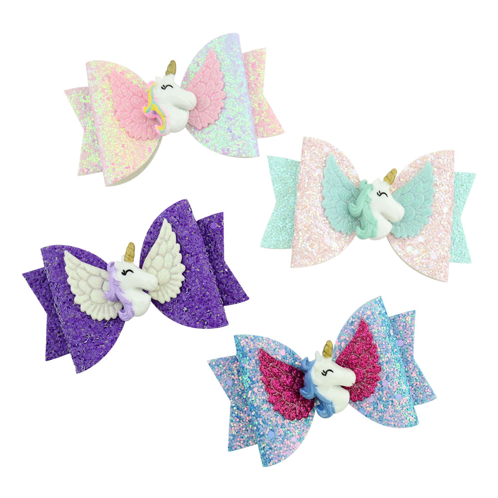 2019 New Unicorn Wing Hair Accessories For Girls Children Princess Glitter Hair Bows Clips Handmade Hairpins Cute Kids Headdress Attractive Appearance