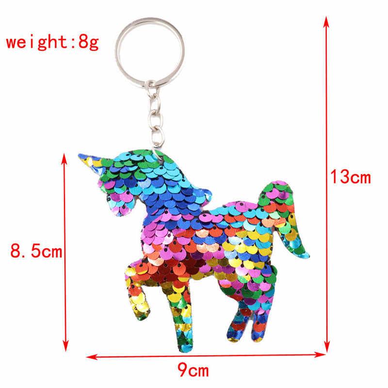 Sitaicery Unicorn พวงกุญแจสะท้อนแสง PomPom Sequins ไดรฟ์ปลอดภัย Key CHAIN ของขวัญแฟนน่ารักพวงกุญแจสำหรับชาย Llaveros Brelok