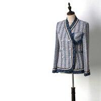 Элегантный дизайн синий белый полосатый элегантный твидовое пальто осень зима женский жемчуг двубортный v образный вырез кисточка Блейзер