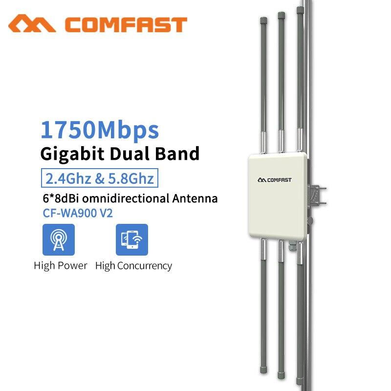 1750 Mbps Gigabit POE routeur AP extérieur sans fil 802.11AC double bande Point d'accès Wifi AP 6 * 8dBi antenne WiFi couverture Station de Base
