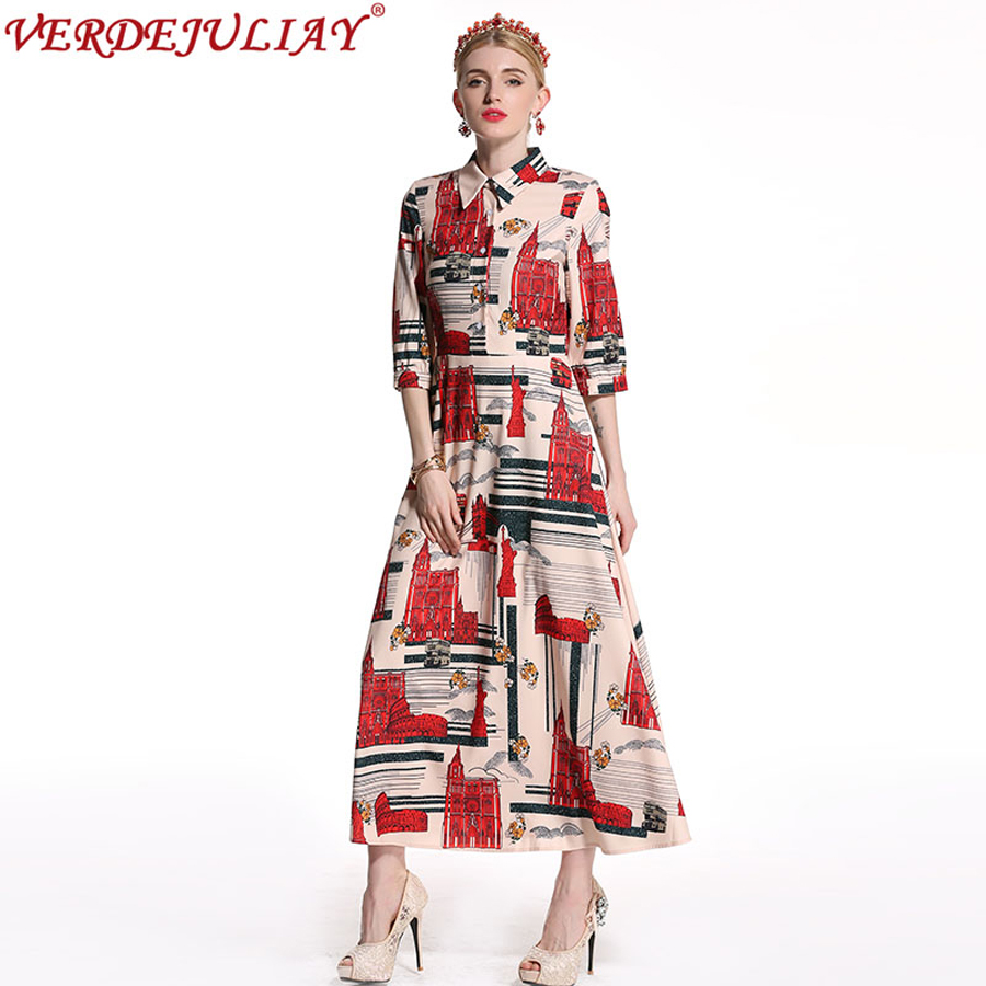 Women Vintage Dresses 2018 Fashion Summer Building Print Turn down Collar Ankle-Length Long Empire Noble Hot Sale Dress