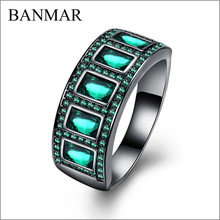 BANMAR New Vintage Green Black Gold filled Red Ring Women Wedding Jewelry Anel Aneis Engagement Promise Rings BIjoux Femme