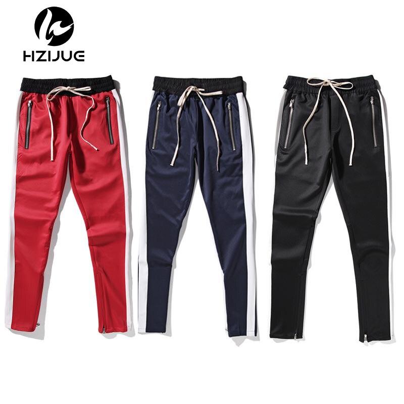 2018 nova moda 5 cores dos homens e das mulheres do temor de deus faixa calças tornozelo zip cônicos sweatpants para homens bolso com zíper da calça