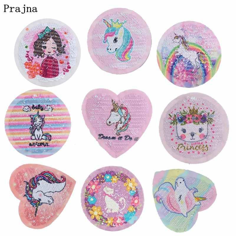 Parches de lentejuelas de unicornio Prajna Arco Iris, reversibles y en distintos colores, pegatinas a rayas en tela, dibujos animados de gato, cerdo, parche para ropa DIY