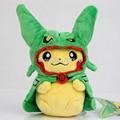 Pokemon Center Cosplay Pikachu de Peluche de Felpa Verde Rayquaza Poncho Muñeca Suave Animal Juguetes 8 ''Regalo de Navidad