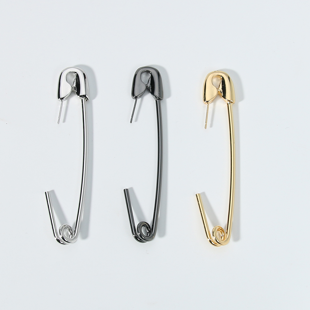 Punk Rock Alloy Safety Pin Earrings Gold Silver Black Color Exaggerated Geometric Piercing Cartilage Ear Jewelry Women Earrings