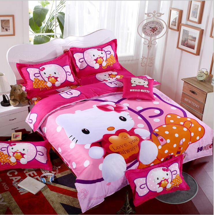 New Bedding Hello Kitty Mickey Mouse 4pcs 3pcs Duvet Cover Sets Soft Polyester Bed Linen Flat