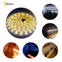 5v PIR Motion Sensor 2835 Battery Powered LED Strip Light 1m/2m/3m Ip65 Waterproof Led Tape Ribbon Bed Cabinet Closet Lamp pir motion sensor battery led strip light 3528 waterproof bed cabinet closet light 1m 2m 3m 5v usb led strip lamp tv backlight