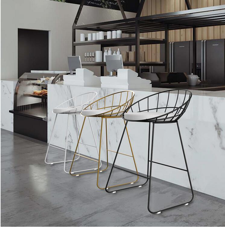Bar Furniture Legged Stool Bar Chair Modern Simple Bar Chair Iron Art Fashion Creative Chair Personality Backrest High