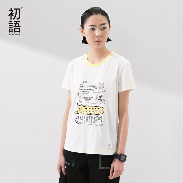 Toyouth New Arrival Women Cotton T-Shirts Cartoon Print Summer Casual O-Neck Loose Tops Tees