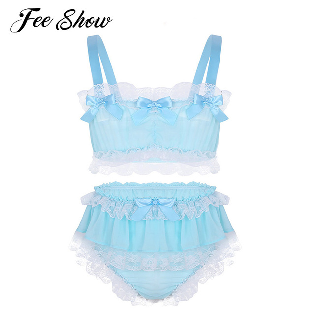 fb8d77dfd9 Sexy Gay Mens Ruffled Floral Lace Sheer Chiffon Sissy Lingerie Set Sexy  Costumes Sleeveless Crop Top with Skirted Briefs Panties