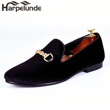 harpelunde mens wedding shoes buckle strap flats black velvet loafers size 7-14