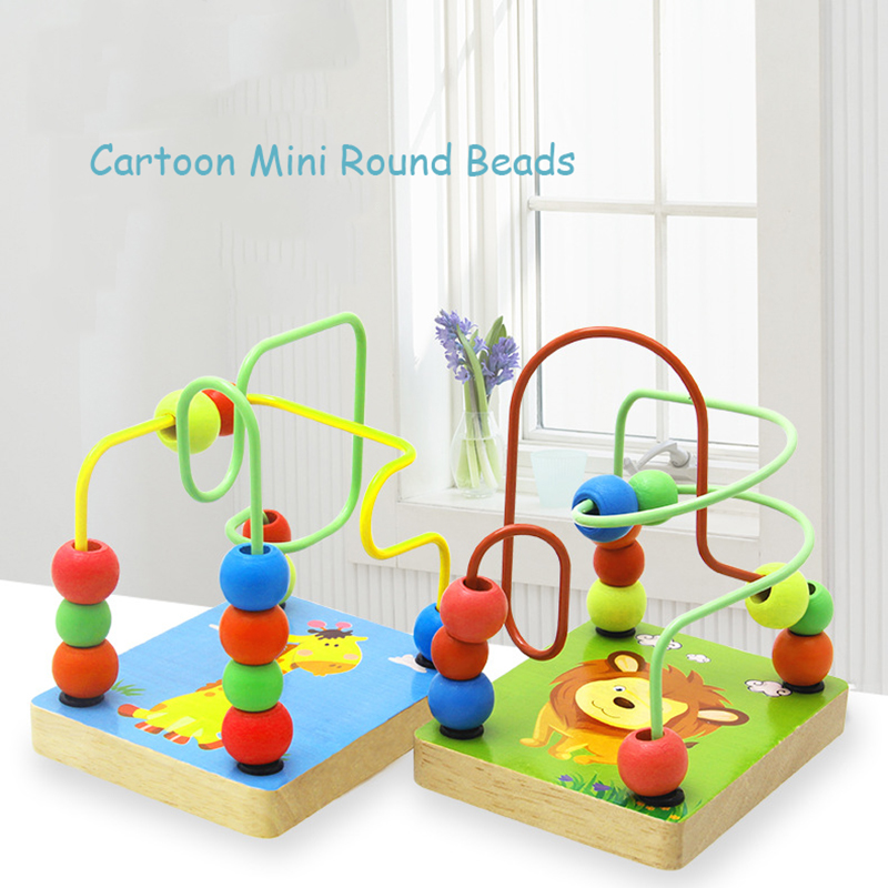 Early Learning Toy Children Kids Baby Colorful Cartoon Wooden Mini Around Beads Educational Mathematics Toy Model Building DIY