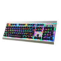 Teclado mecânico do jogo do interruptor azul rgb backlight wired 104 teclas teclado mecânico do jogo para jogos do desktop da tabuleta