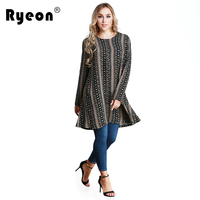 Ryeon Plus Size Shirt Dress Autumn Winter Spring Women Dresses Big Sizes Black Floral Print Casual