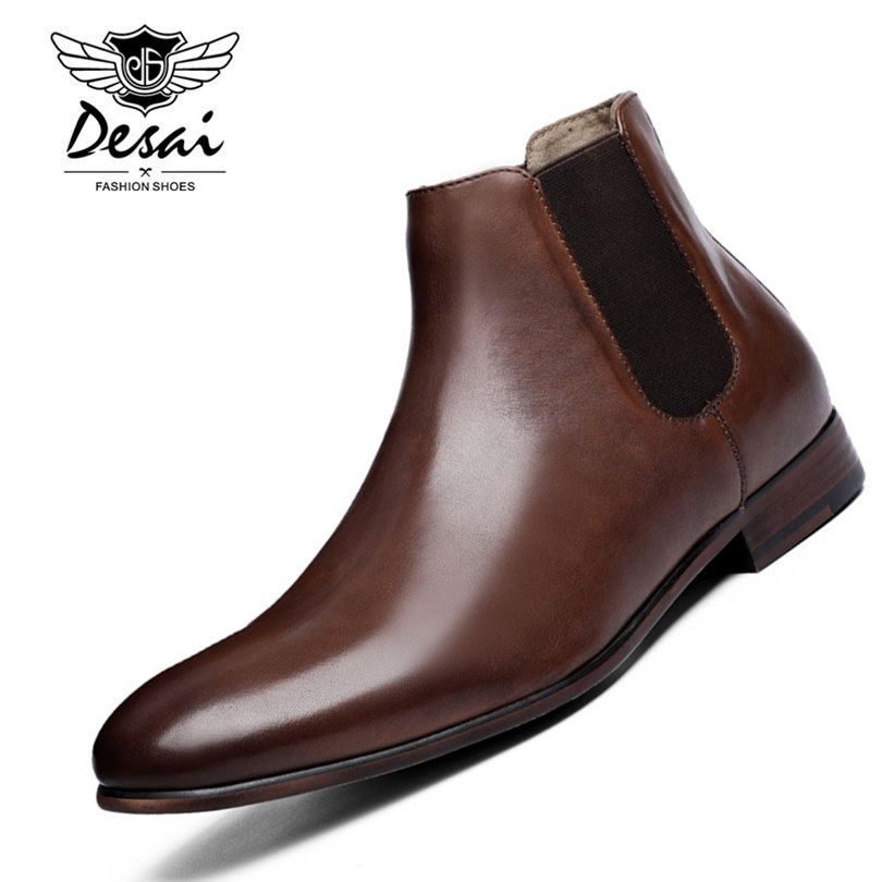 DESAI Brand Genuine Leather Men Boots British Style All Match Black Brown Simple Pointed Toe Chelsea Boots Men Ankle Shoes women s ankle boots strappy pointed toe vogue comfy all match shoes
