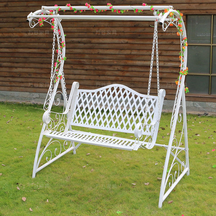 White Wrought Iron Double Swing Outdoor