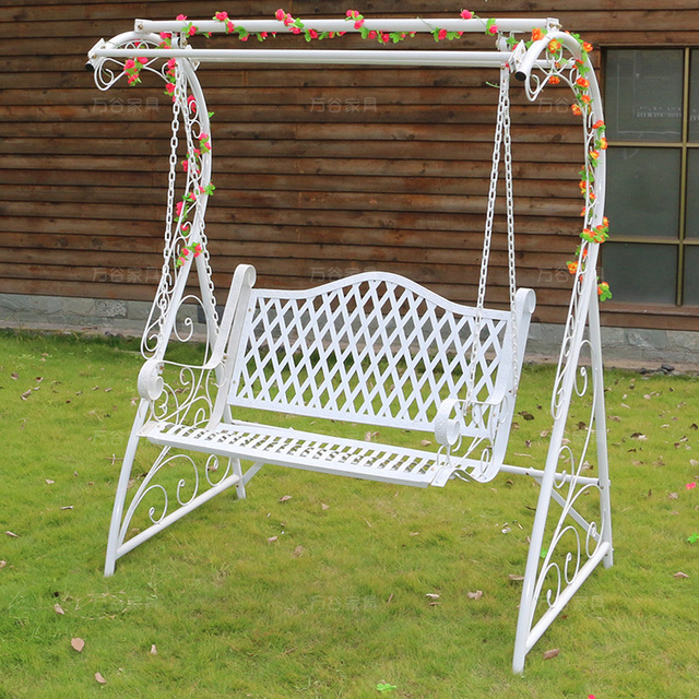 White Wrought Iron Double Swing Outdoor Garden Patio Balcony Indoor Basket Rocking  Chair Leisure Hammock