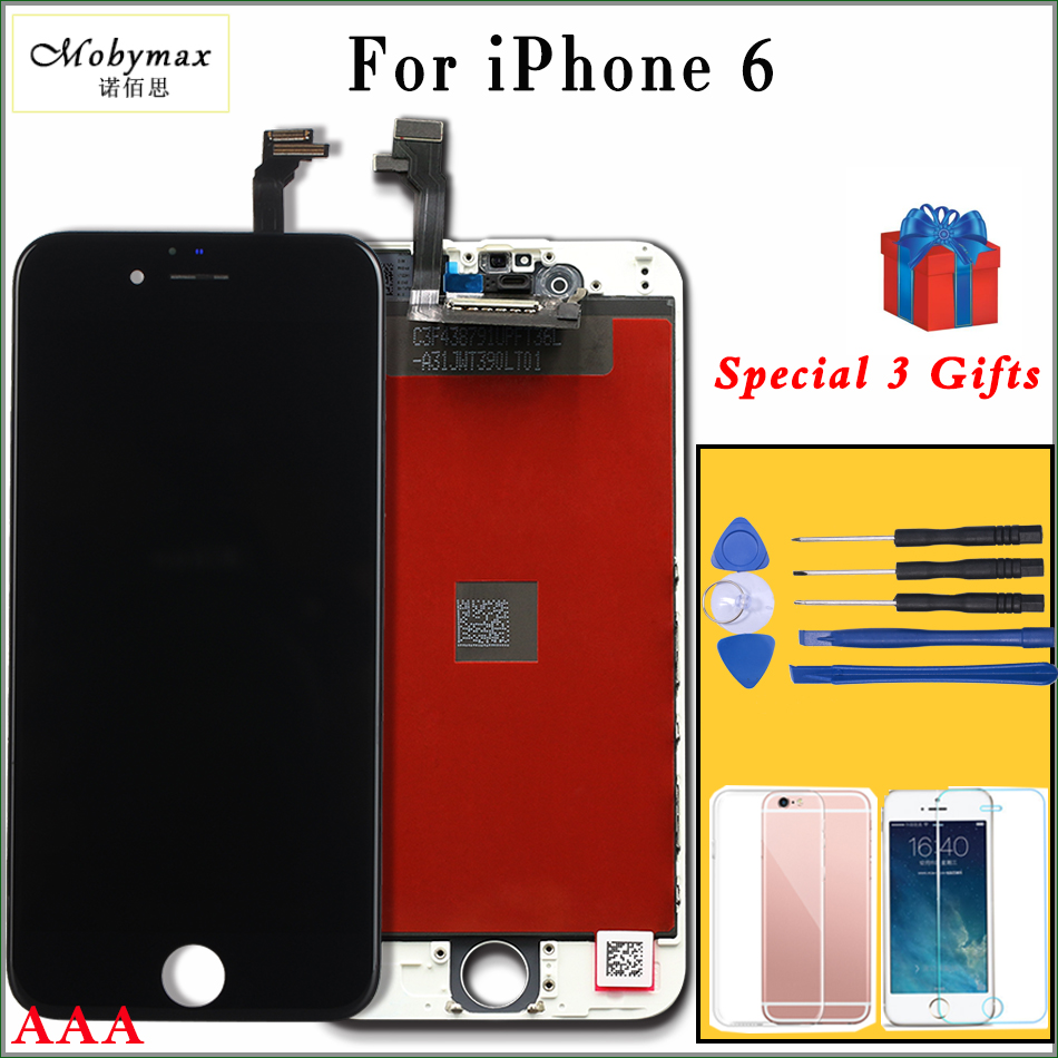 Mobymax AAA Quality LCD Screen For iPhone 6 Display Assembly Replacement with Original Digitizer Phone Parts Black/White+Gifts