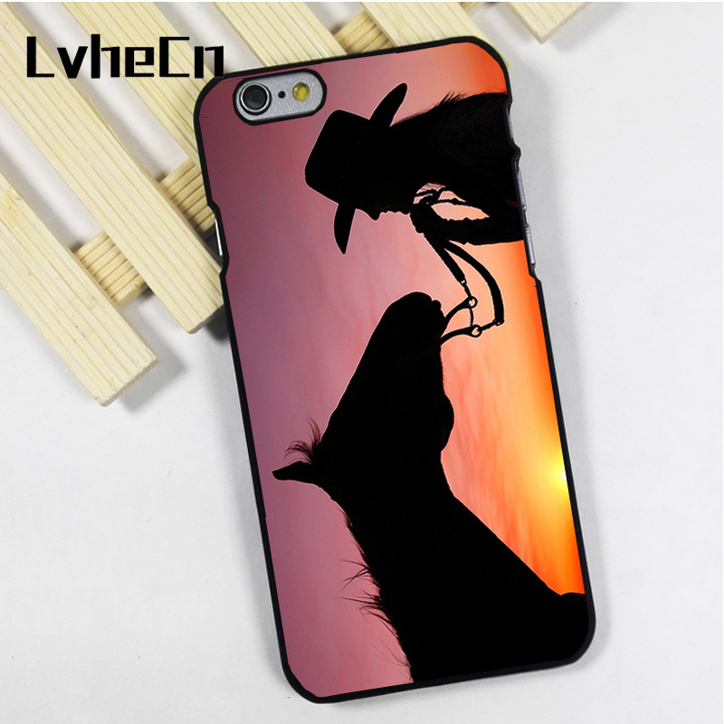 LvheCn phone case cover fit for iPhone 4 4s 5 5s 5c SE 6 6s 7 8 plus X ipod touch 4 5 6 Cowgirl Horse Sunset