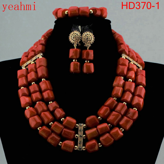 Wonderful gold color African Coral Beads Jewelry Set Nigerian Beads