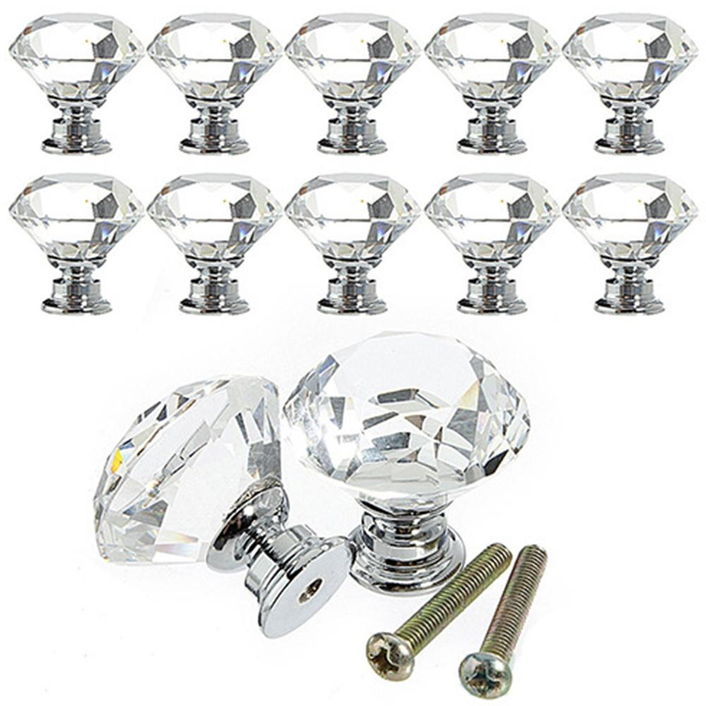 Glass Drawer Knobs Diamond Pulls Handle with Screws for Home Kitchen Office Chest Cabinet Drawer nuosen 12 Pcs 30mm Crystal Door Knobs