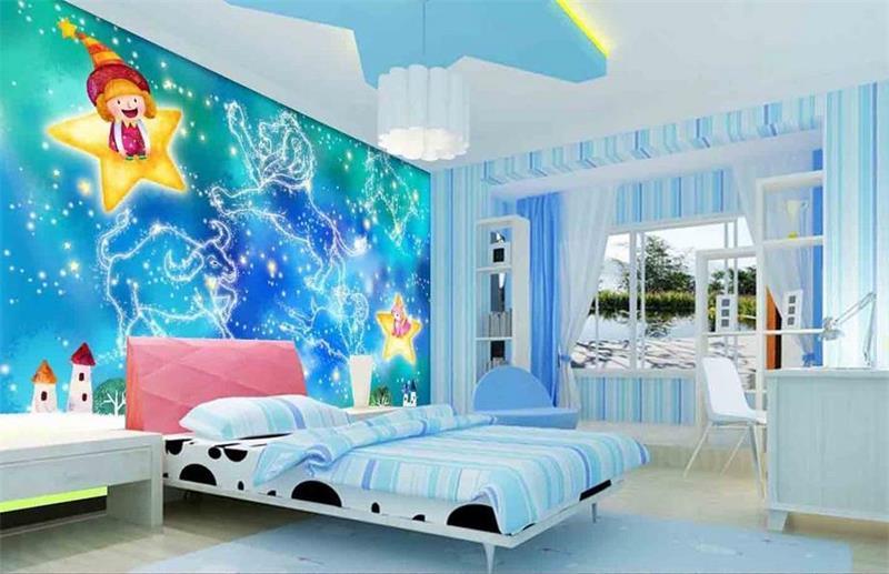 3D kids room wallpaper custom non woven HD murals Blue ...