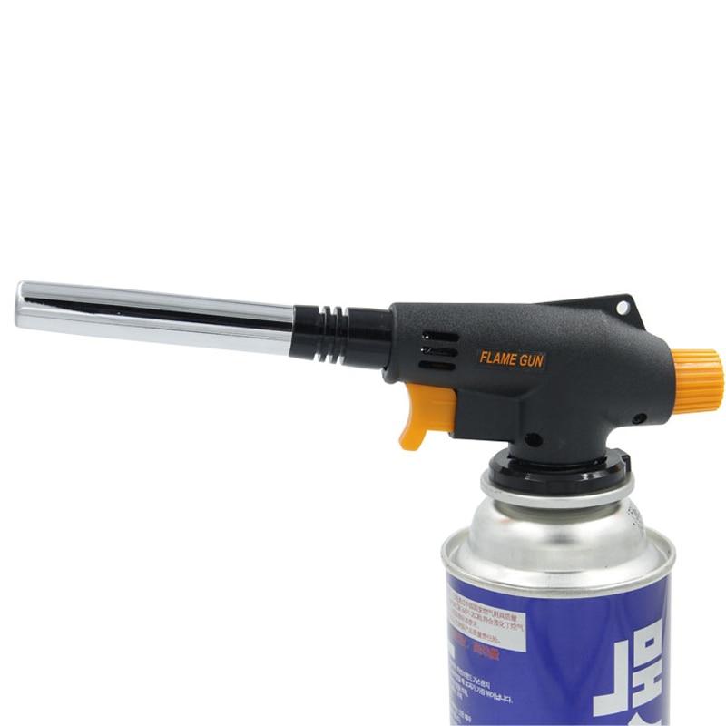 Encendedor Calentador Encendido Quemador de llama Pistola Portátil Acampar Largo Soldadura a prueba de humedad Antorcha de gas