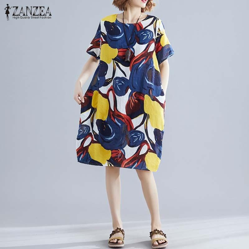 2019 г. ZANZEA напечатано большое платье женские летние сарафаны Женские повседневные винтажные вечерние платья с коротким рукавом плюс размер ...