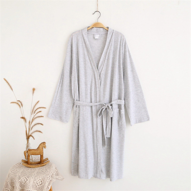 Womens Cotton Waffle Bathrobes Two colors Sleepwear robe
