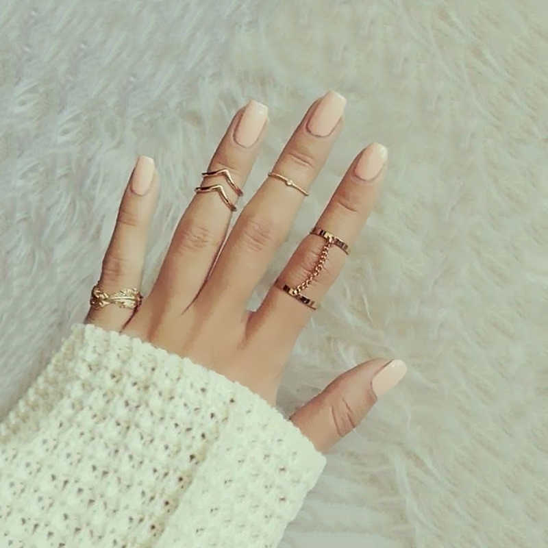 6pc/set Women Charm Gold Bohemia Midi Finger Ring Set for Finger Chain Leaves Jewelry Knuckle Ring Set Girl Jewelry Gift