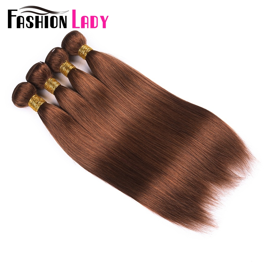 Fashion Lady Pre-Colored 4 Bundles Malaysian Straight Hair Bundles Color 30# Human Hair Weave Brown Bundles Non-Remy