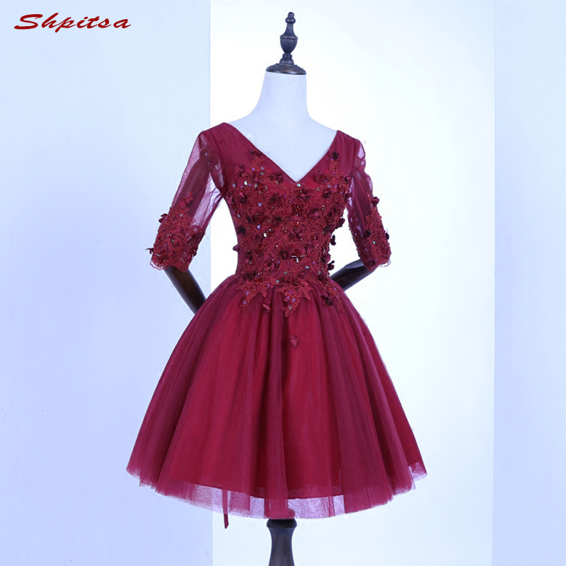 Red Short Lace   Cocktail     Dresses   with Sleeves Women Mini Evening Prom Coctail Party   Dresses   vestido de festa curto coctel