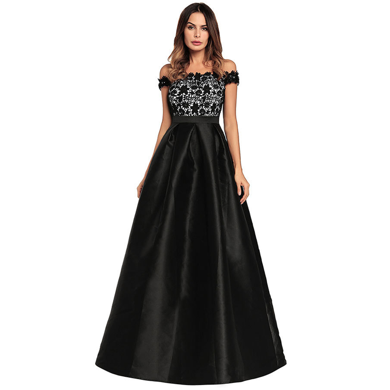 UNIQUEWHO Lady Women Black Lace Dress Vintage Ball Gown Off-the-shoulder Long Dress Slim Sexy Evening Party Dresses 2018 Summer fashionable sexy oblique shoulder slim tight dress black green l page 9