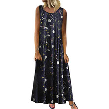 Women Plus Size Dress Bohemian O-Neck Floral Print Vintage Sleeveless Long Maxi Dress все цены