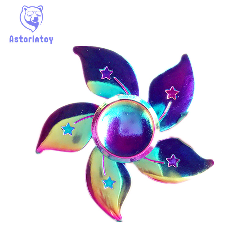 Colorful Bauhinia flower Hand spinners Metal Fidget Spinner For Autism and ADHD Kids spiner T Finger
