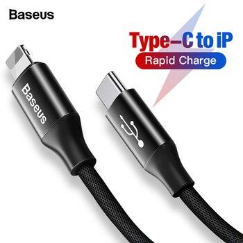 cfad87adf1a Baseus USB tipo C a USB Cable para iPhone Xs Max Xr 8X8 7 6 6 s Plus 5  cargador de carga 5S se tipo c PD para cable de datos Lightning