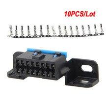 Hoge Kwaliteit 10 Stks/partij J1962F 16PIN Vrouwelijke Connector Assembleren Vrouwelijke Obd 16pin Hoek Adapter Auto Diagnostische Socket Plug Kabel