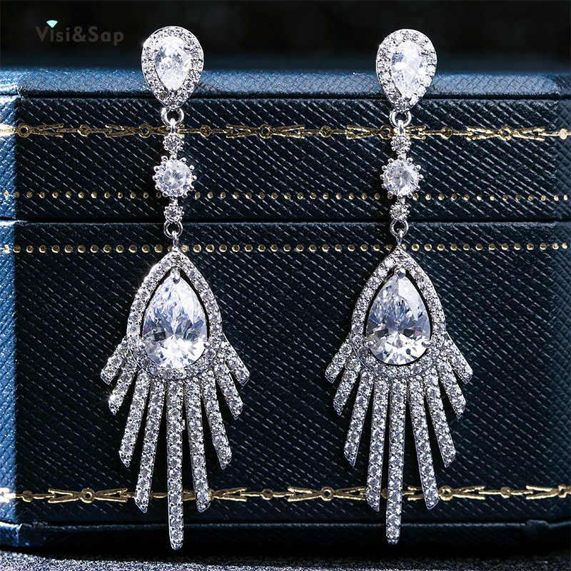 Visisap Icedout cristal Zircon goutte d'eau boucles d'oreilles mode luxe gland balancent boucles d'oreilles pour les femmes bijoux de fête en gros EH080