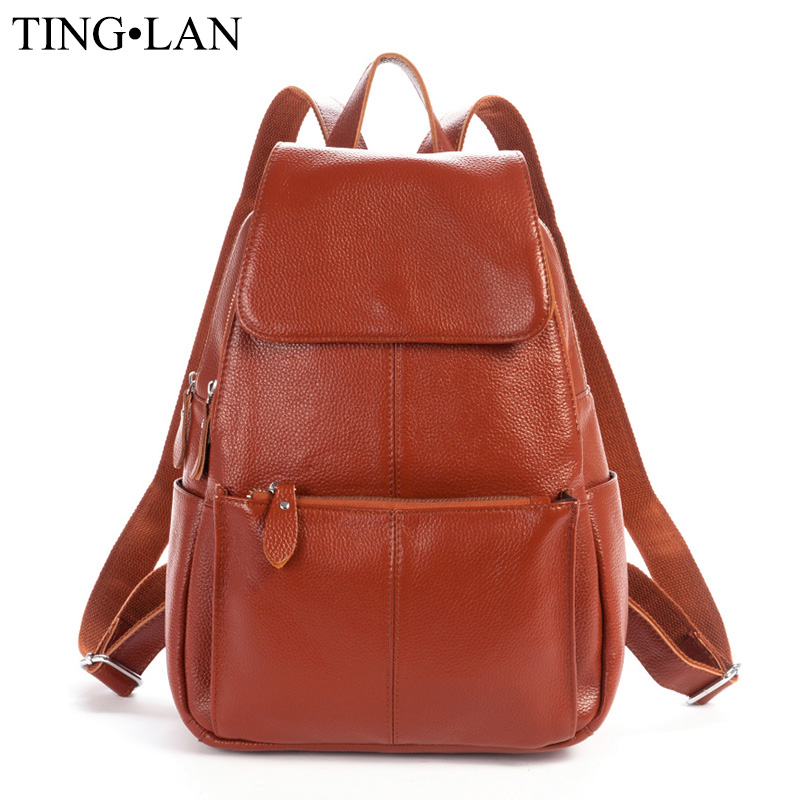 Women Backpacks Genuine Leather Famous Brand Ladies Backpack for Teenage Girls School Bags Fashion Mochilas Japan Korean Style