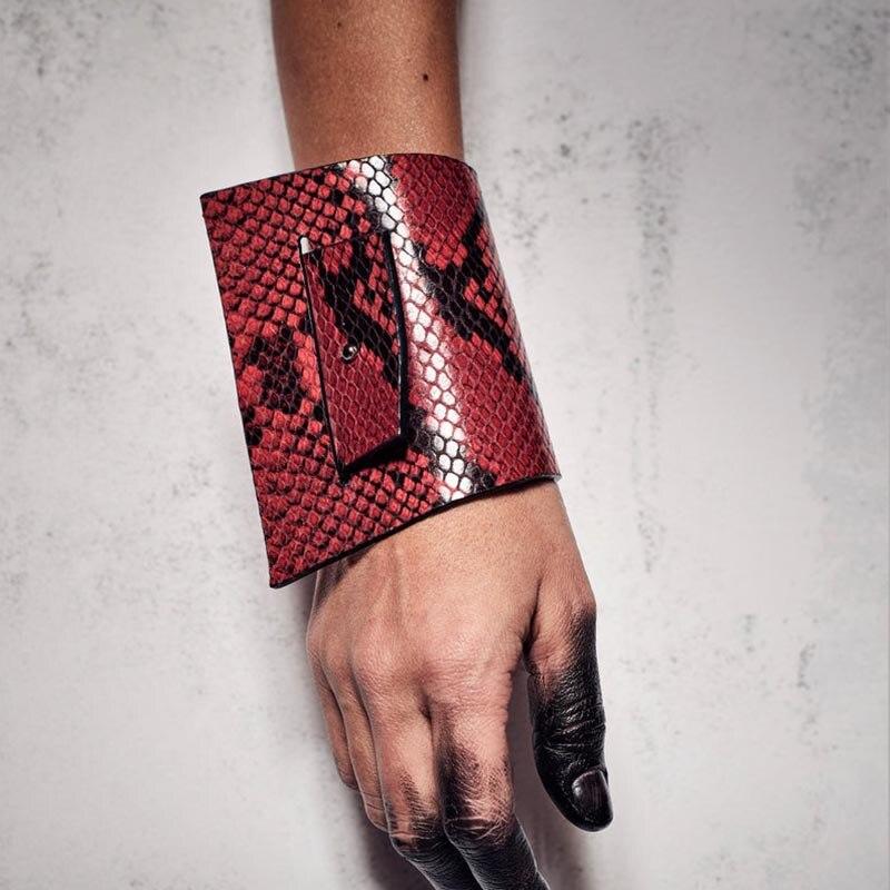 New Luxury Punk Leather Bracelets 3 Color Bracelets Bangles Leopard Leather Elegant Wrap Wide Bracelet Jewelry in Cuff Bracelets from Jewelry Accessories