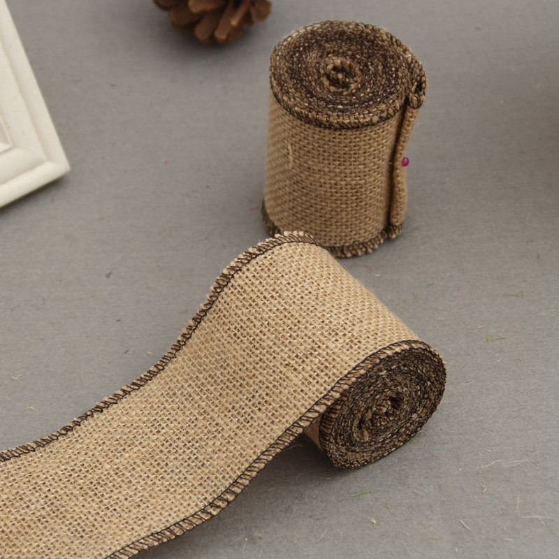 Diy Burlap Wedding Ideas: 5 Meter 7.5cm Jute Burlap Rolls Hessian Ribbon With Trims