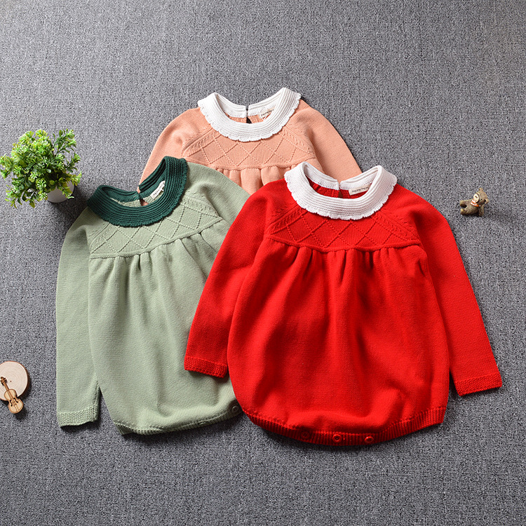 2017 Baby Knitted Rompers Girls Jumpsuit roupas de bebe Wool baby romper Overalls infant toddler clothes Girl Clothing 12m-5y penguin fleece body bebe baby rompers long sleeve roupas infantil newborn baby girl romper clothes infant clothing size 6m