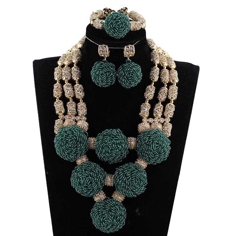 HTB1r14buQyWBuNjy0Fpq6yssXXag Exclusive Green Beaded Statement Necklace Set for Bride New Wedding Necklace Earrings Set Christmas Jewelry WD916