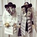 2016 Sólidos No Tempo-limitado Inverno acolchoado-Algodão das Mulheres Temperamento Moda Real Fox Gola De Pele de Longa Seção Casaco de algodão Quente