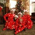 Lzh família pijama natal neve padrão cardigan + calças pijama roupa set família roupas combinando 2017 olhar família clothing