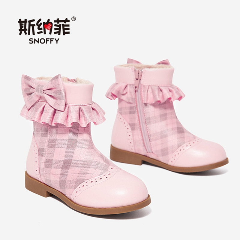 2018 Winter Boots For Girls Martin Shoes Warm Plush Girls Snow Boots With Bowtie Cotton-Padded Kids Short Boots TX422 mhyons 2018 winter girls boots thick warm shoes cotton padded boys girls boots girls cowhide snow boots kids shoes size 21 30