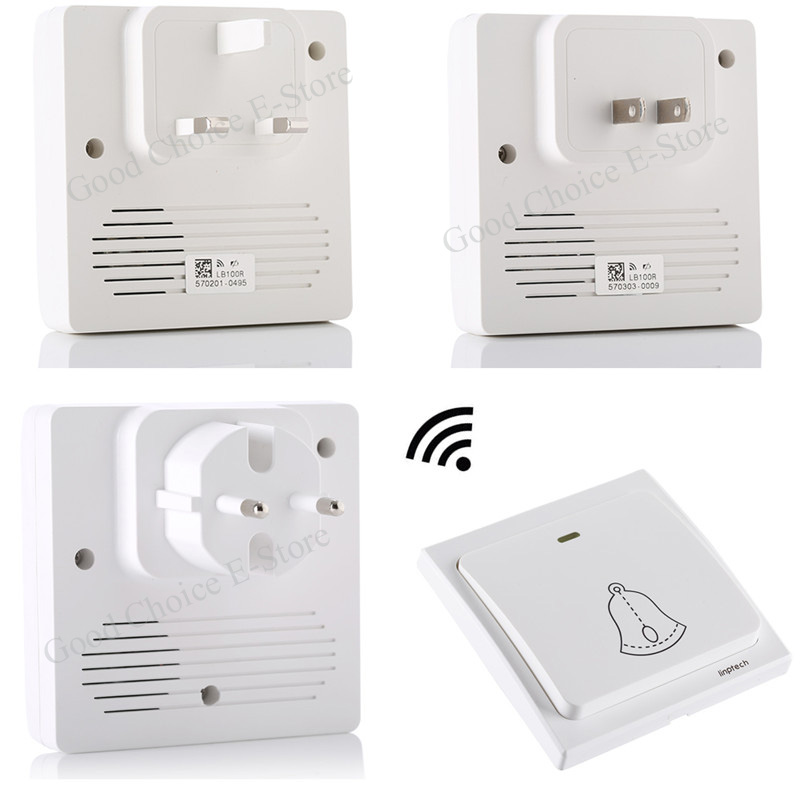 High-End Wireless Cordless Doorbell Remote Door Bell Chime Kit,No need battery,Waterproof, EU/US/UK Plug-in Receiver 85V-260V