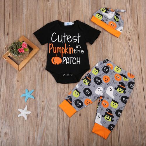 62ae1220a6a6 Halloween 3Pcs Clothes Newborn baby Boy Girl Cutest Pumpkin in the ...